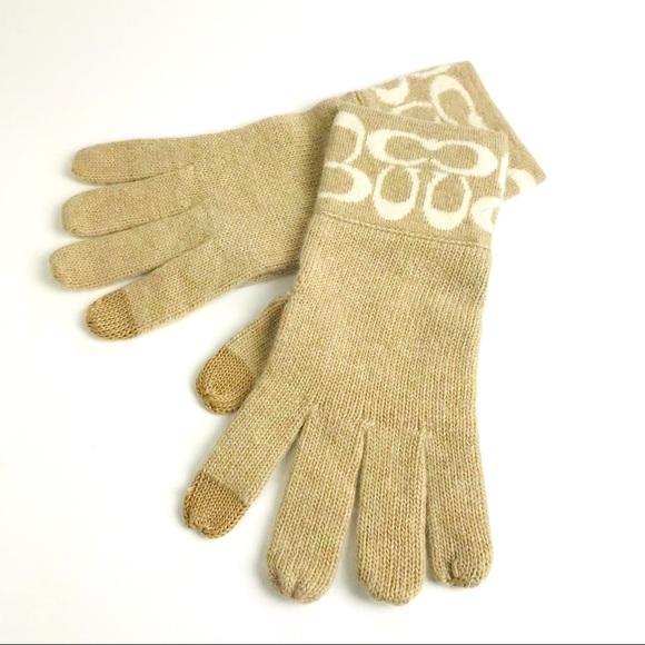 Coach Tan Signature Tech Gloves